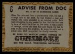 1958 Topps TV Westerns #6   Advice from Doc  Back Thumbnail