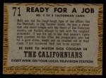 1958 Topps TV Westerns #71   Ready for Job  Back Thumbnail