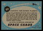 1957 Topps Space Cards #69   Takeoff for Other Planets Back Thumbnail