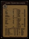 1973 Topps #464   Cubs Team Back Thumbnail