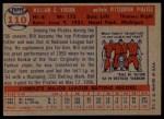 1957 Topps #110  Bill Virdon  Back Thumbnail