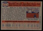1957 Topps #211  Camilo Pascual  Back Thumbnail