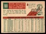 1959 Topps #101  Alex Kellner  Back Thumbnail