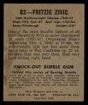 1948 Leaf #82  Fritzie Zivic  Back Thumbnail