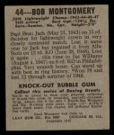 1948 Leaf #44  Bob Montgomery  Back Thumbnail