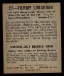 1948 Leaf #27  Tommy Loughran  Back Thumbnail