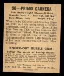 1948 Leaf #90  Primo Carnera  Back Thumbnail