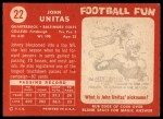 1958 Topps #22  Johnny Unitas  Back Thumbnail