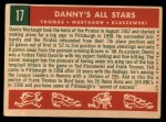 1959 Topps #17   -  Frank Thomas / Ted Kluszewski / Danny Murtaugh Danny's All-Stars Back Thumbnail
