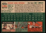 1954 Topps #150  Dick Kryhoski  Back Thumbnail
