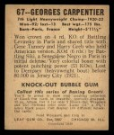 1948 Leaf #67  Georges Carpentier  Back Thumbnail