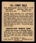 1948 Leaf #15  Tony Zale  Back Thumbnail