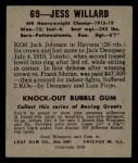 1948 Leaf #69  Jess Willard  Back Thumbnail