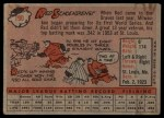 1958 Topps #190  Red Schoendienst  Back Thumbnail