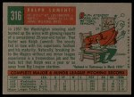 1959 Topps #316 ^OPT^ Ralph Lumenti  Back Thumbnail