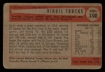 1954 Bowman #198  Virgil Trucks  Back Thumbnail