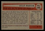 1954 Bowman #145 2B Billy Martin  Back Thumbnail