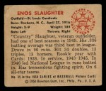 1950 Bowman #35  Enos Slaughter  Back Thumbnail