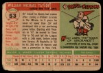 1955 Topps #53  Bill Taylor  Back Thumbnail