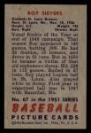 1951 Bowman #67  Roy Sievers  Back Thumbnail