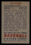 1951 Bowman #240  Joe Haynes  Back Thumbnail