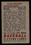 1951 Bowman #91  Clyde Vollmer  Back Thumbnail