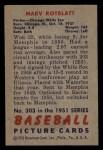 1951 Bowman #303  Marv Rotblatt  Back Thumbnail