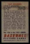 1951 Bowman #136  Ray Coleman  Back Thumbnail