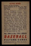1951 Bowman #299  Clyde King  Back Thumbnail