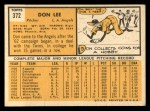 1963 Topps #372 xFUL Don Lee  Back Thumbnail