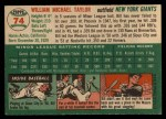 1954 Topps #74  Bill Taylor  Back Thumbnail