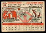 1956 Topps #23  Fred Marsh  Back Thumbnail