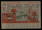 1956 Topps #116  Eddie O'Brien  Back Thumbnail