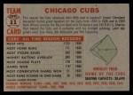 1956 Topps #11 LFT  Cubs Team Back Thumbnail