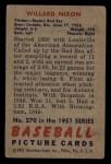 1951 Bowman #270  Willard Nixon  Back Thumbnail