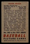 1951 Bowman #282  Frankie Frisch   Back Thumbnail