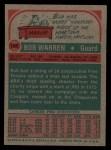 1973 Topps #196  Bob Warren  Back Thumbnail