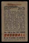 1951 Bowman #188  Bobby Avila  Back Thumbnail