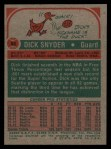 1973 Topps #86  Dick Snyder  Back Thumbnail