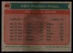 1973 Topps #206   ABA West Semi-Finals Back Thumbnail