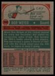 1973 Topps #132  Bob Weiss  Back Thumbnail