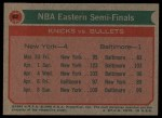 1973 Topps #62   NBA Eastern Semi-Finals Back Thumbnail