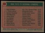 1973 Topps #153  Spencer Haywood / Nate Archibald / Kareem Abdul-Jabbar  Back Thumbnail