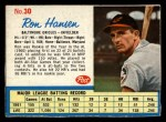 1962 Post Cereal #30 DSH Ron Hansen   Front Thumbnail