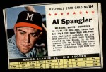 1961 Post Cereal #114 BOX Al Spangler   Front Thumbnail