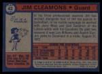 1974 Topps #42  Jim Cleamons  Back Thumbnail