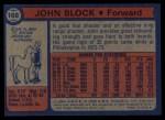 1974 Topps #168  John Block  Back Thumbnail