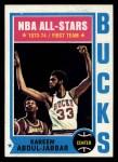 1974 Topps #1  Kareem Abdul-Jabbar  Front Thumbnail