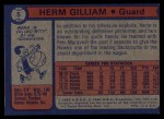 1974 Topps #5  Herm Gilliam  Back Thumbnail