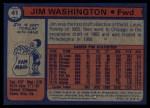 1974 Topps #41  Jim Washington  Back Thumbnail